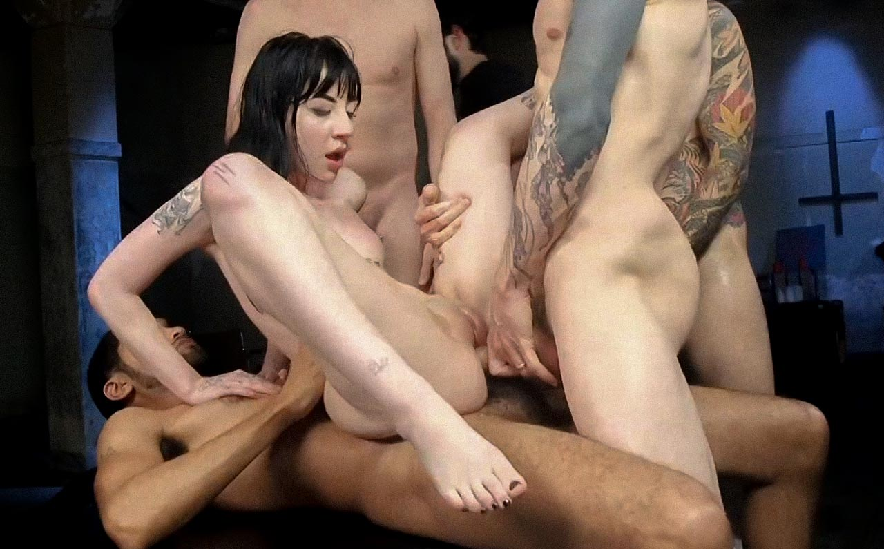 Charlotte Sartre Gangbang and double anal penetration in the video Psycho Bitch GangBang at Kink. A nude girl fucked by many in a Hardcore Gangbang.