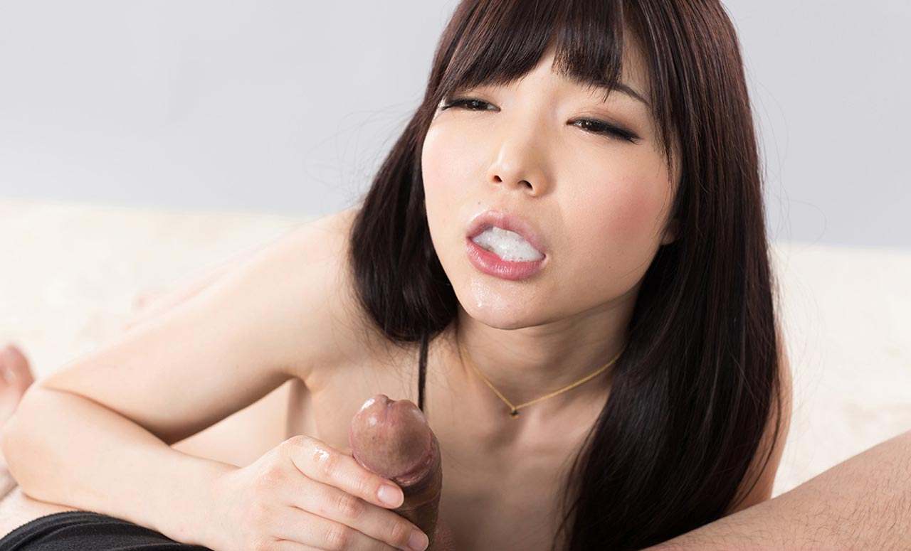 Shino Aoi cum mouth uncensored, a blowjob video from Fellatio Japan featuring a nude Japanese girl sucking cock and swallowing cum.