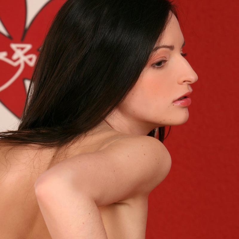 A nude girl with a shaved pussy, standing in a red room. From a gallery at infocusgirls