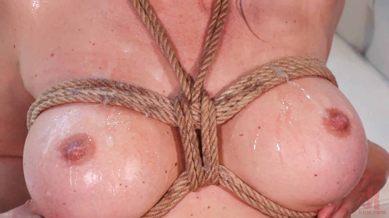 Krissy Lynn Nude and Horny at Home Gets Tied Up and Gangbanged by five guys in a GangBang BDSM bondage video.