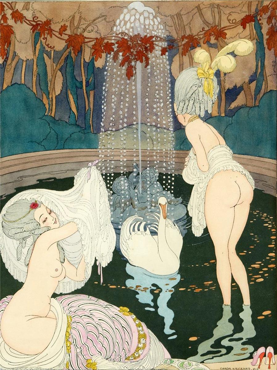 Gerda Wegener, Leda, 1918. Illustration by the lesbian pioneer artist.
