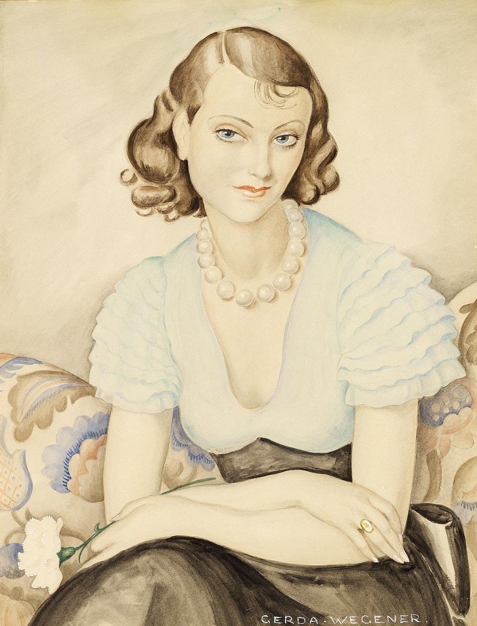 Gerda Wegener (self-)Portrait of a young woman. It is unconnfirmed if this is a self-portrait of lesbian painter Gerda Wegener.