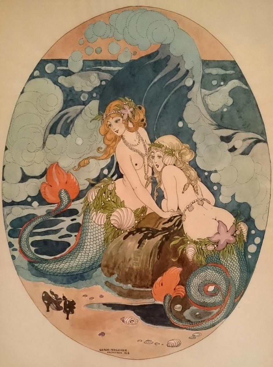 Gerda Wegener, Two Sirens, 1918. Illustration depicting two mermaids by the lesbian pioneer artist.