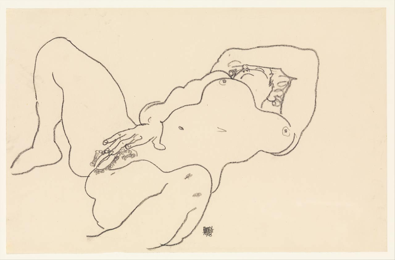Reclining Nude, Egon Schiele, Charcoal on paper, 1918. A nude girl masturbates. She spreads her legs and touches her pussy.