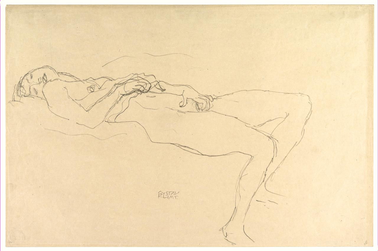 Reclining Nude, Gustav Klimt, drawing, ca. 1912–13. A nude woman masturbating nude on a bed while looking at the spectator.