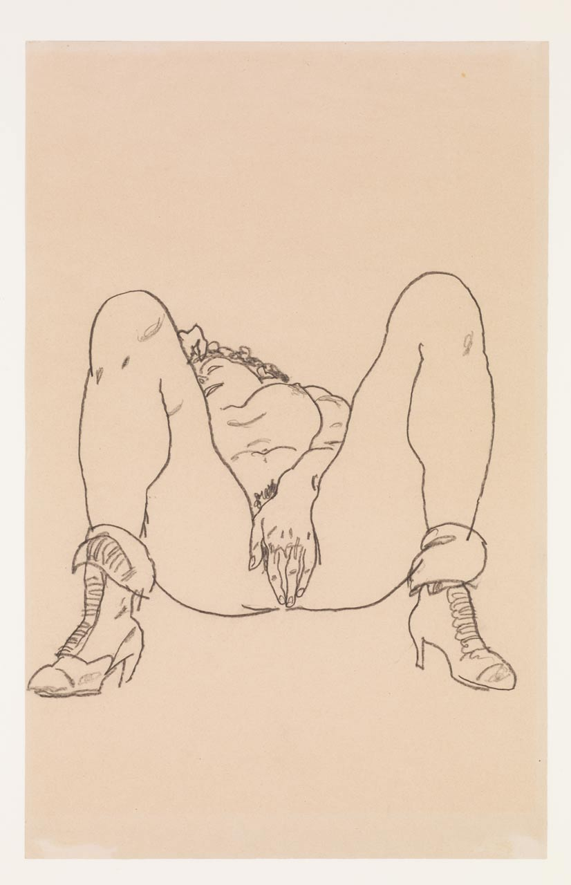 Reclining Nude with Boots, Egon Schiele, Charcoal on paper, 1918. A nude girl spreads her legs and touches her pussy.