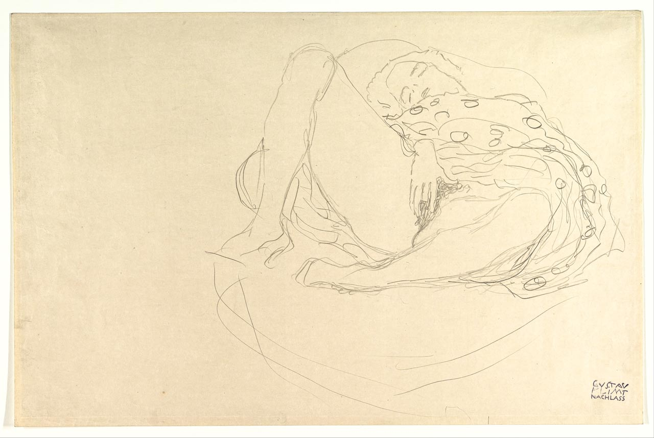 Reclining Nude with Drapery, Gustav Klimt, graphite, ca. 1912–13. A nude girl masturbates with wide spread legs. She fingers her pussy in front of the spectator.