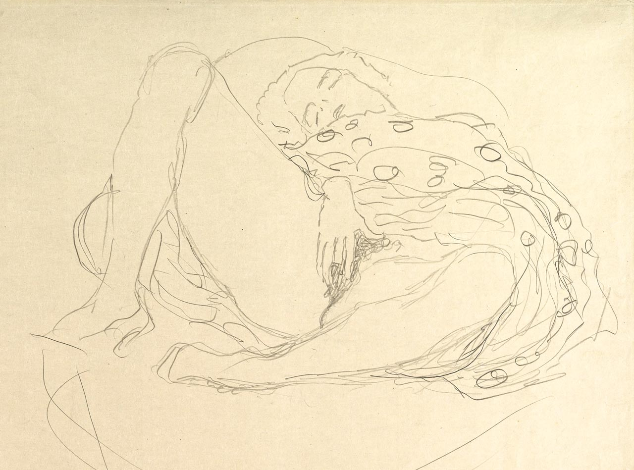 Reclining Nude with Drapery, Gustav Klimt, graphite, ca. 1912–13 (detail). A nude girl masturbates with wide spread legs. She fingers her pussy in front of the spectator.