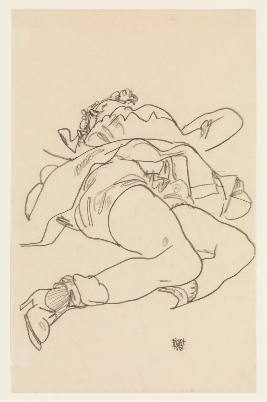 Reclining Woman with Raised Skirt, Egon Schiele, Charcoal on paper, 1918. A girl is masturbating.