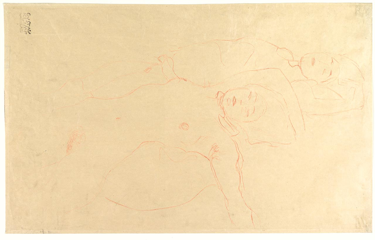 Two Reclining Nudes, Gustav Klimt, colored pencil, 1905–1906. Nude girls lying together on a bed.