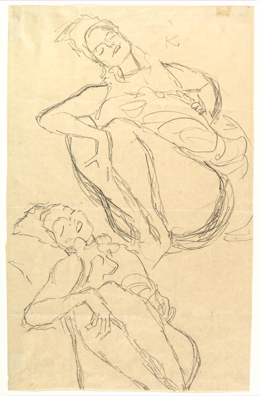 Two Studies for a Crouching Woman, Gustav Klimt, graphite, 1914–15. A woman reclining half nude with a totally relaxed expression.