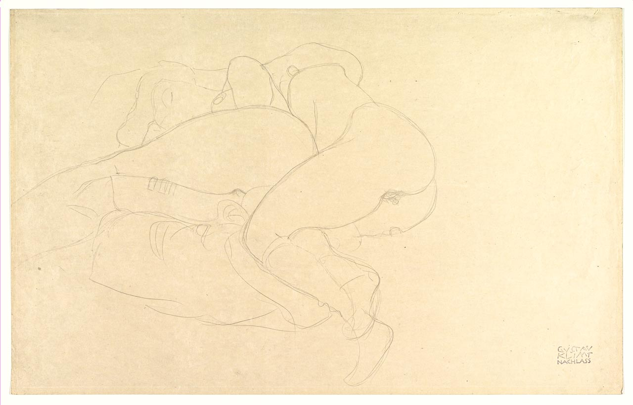 Two Women Friends Reclining, Gustav Klimt, graphite, ca. 1905–06. Two nude girls lying next to each other like lesbian lovers after good sex.
