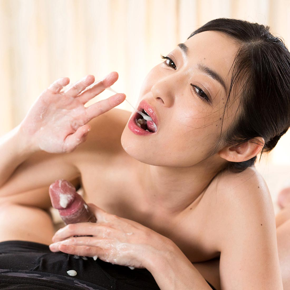 Ryu Enami nude, stroking cock for Handjob Japan. uncensored.