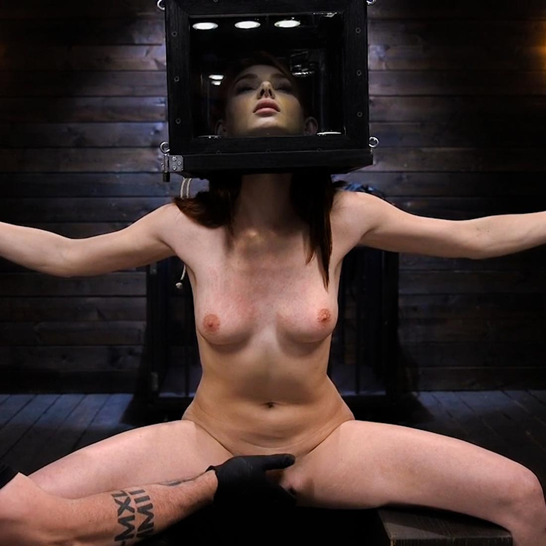 Lacy Lennon nude in Gorgeous Redhead's Sensual Submission. BDSM sex at Device Bondage.