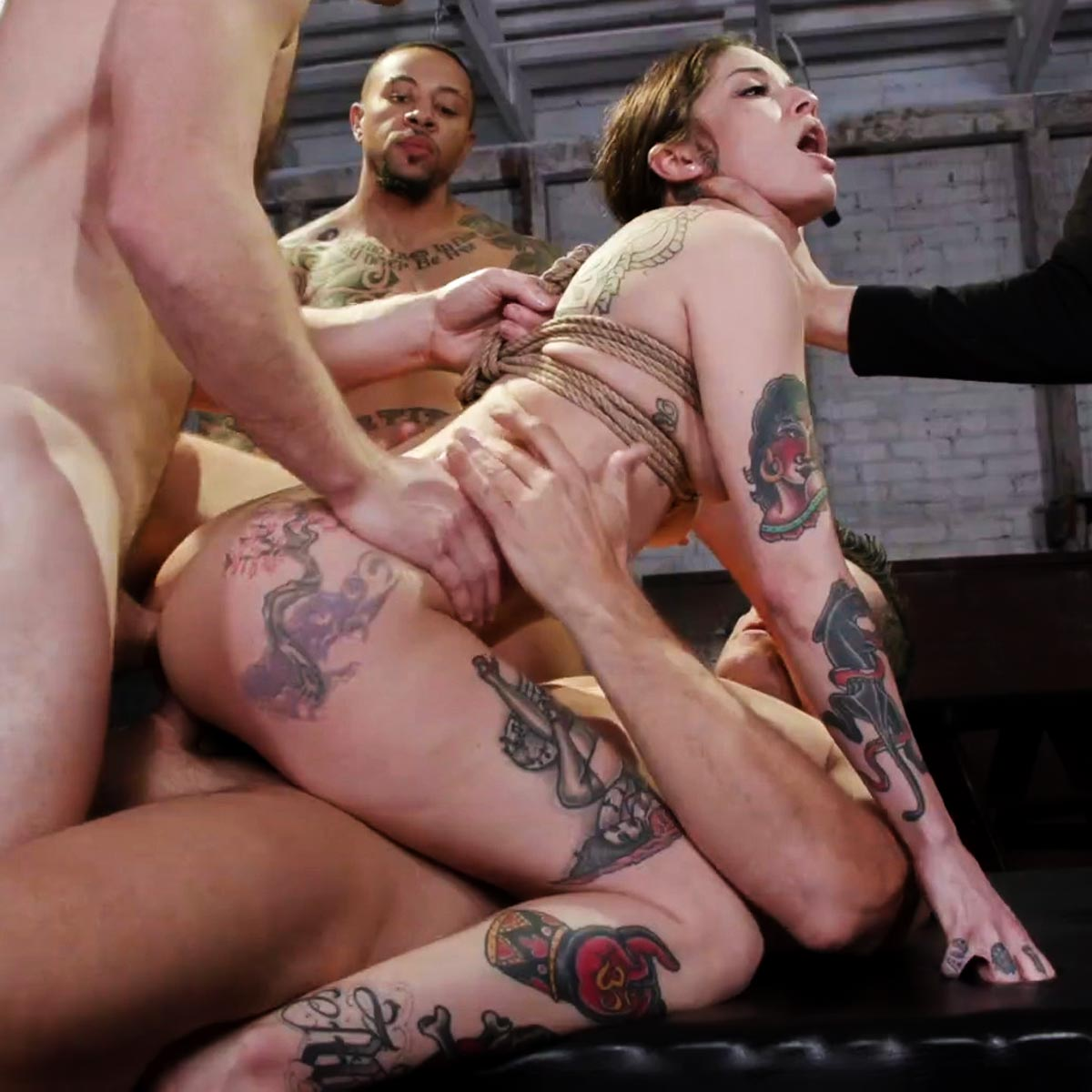 Vanessa Vega Gangbang sex at Bound GangBangs. A BDSM Double penetration and Anal sex video.