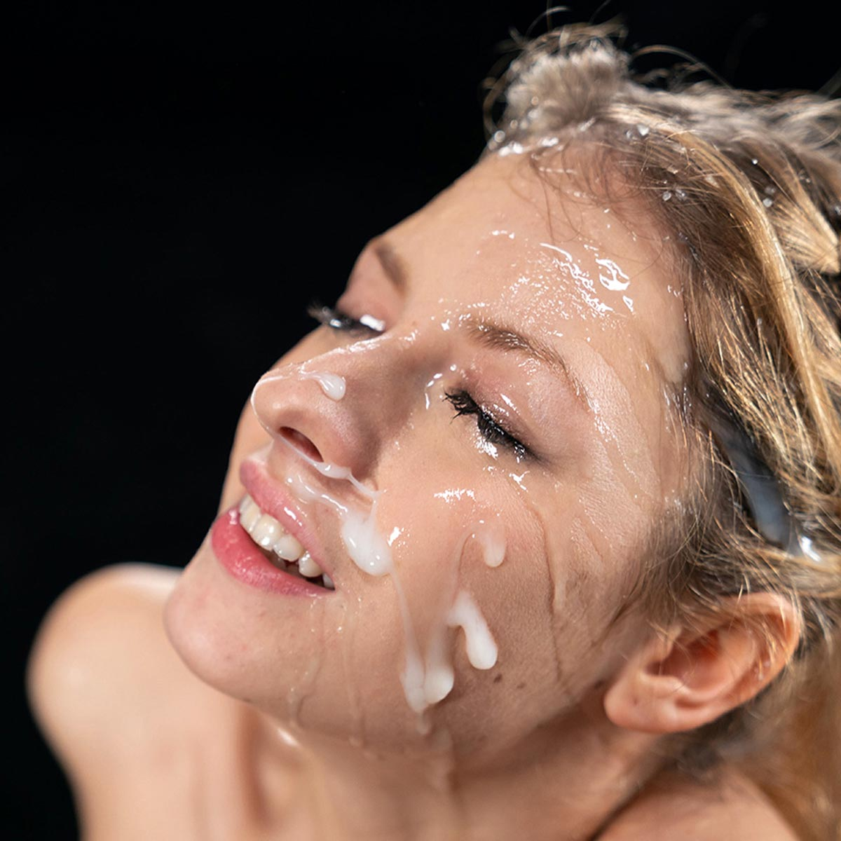 Facials, Facial Cumshots on the face of a girl. Rebecca Volpetti is glazed with sperm from several ejaculations.