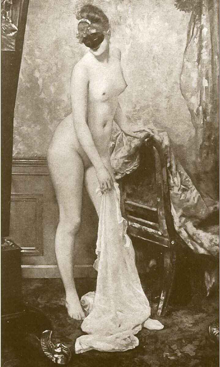 La Femme au Masque is a painting by Henri Gervex, depicting the 22 year old Parisienne model Marie Renard full nude, wearing only a Domino masque. Created in 1885 it was described a scandalous at its first public exhibition, and many women were scandalized as the , at its time unknown model, the most high profile being Camille du Gast where it was the subject of a court case in 1902.