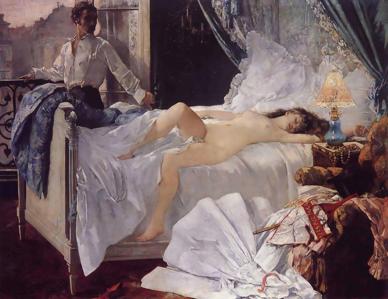 Henri Gervex, Rolla,1878. A painting of a nude girl (Ellen-Andrée) reclining after sex.