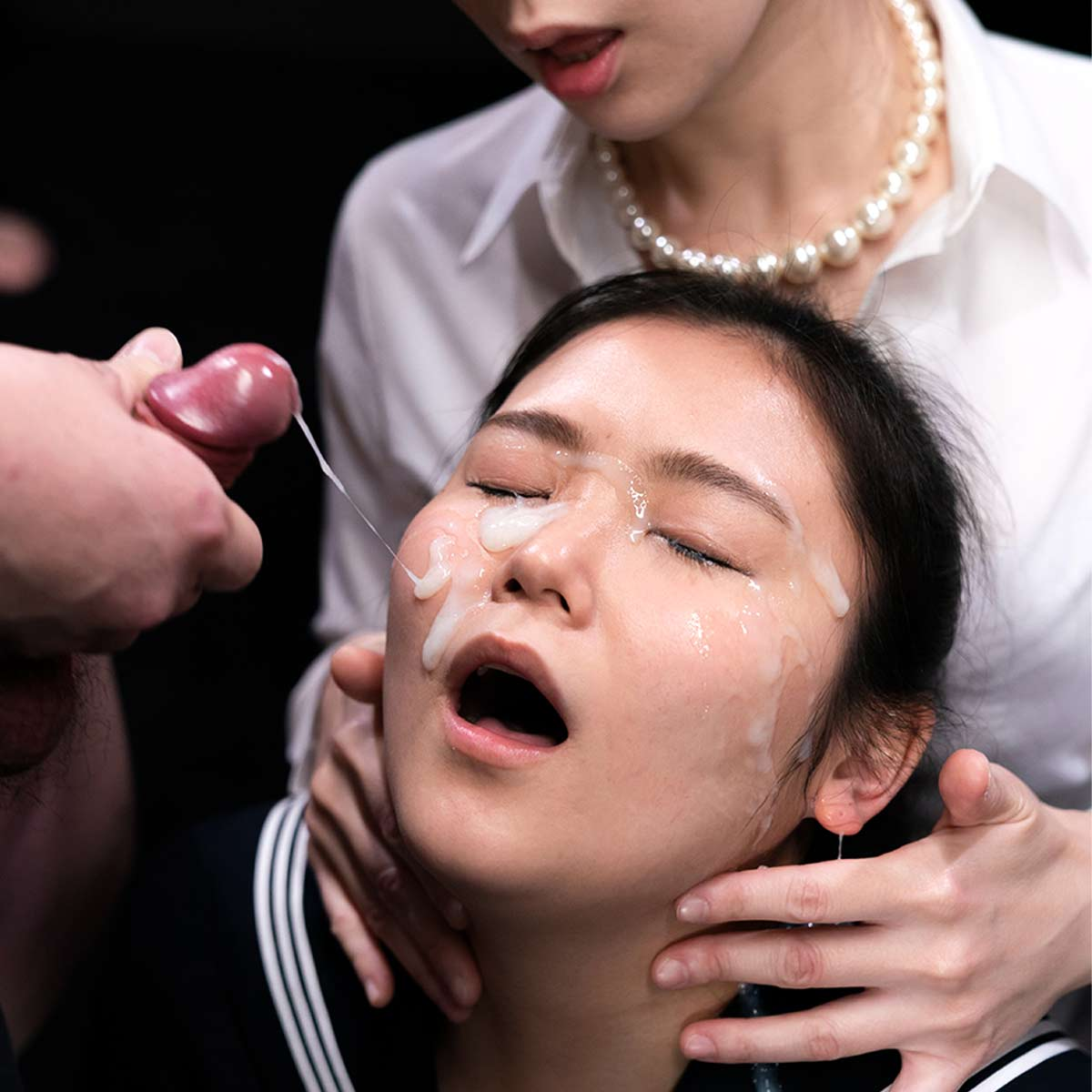Miku Aida and An Hayase enjoy a Facial Bukkake with Snowballing and Cum swapping in an uncensored Spermmania video,